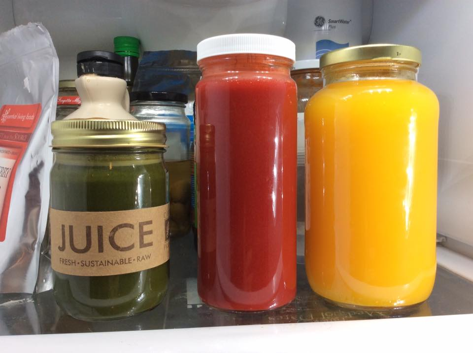 Fresh juice, green, red, lemon